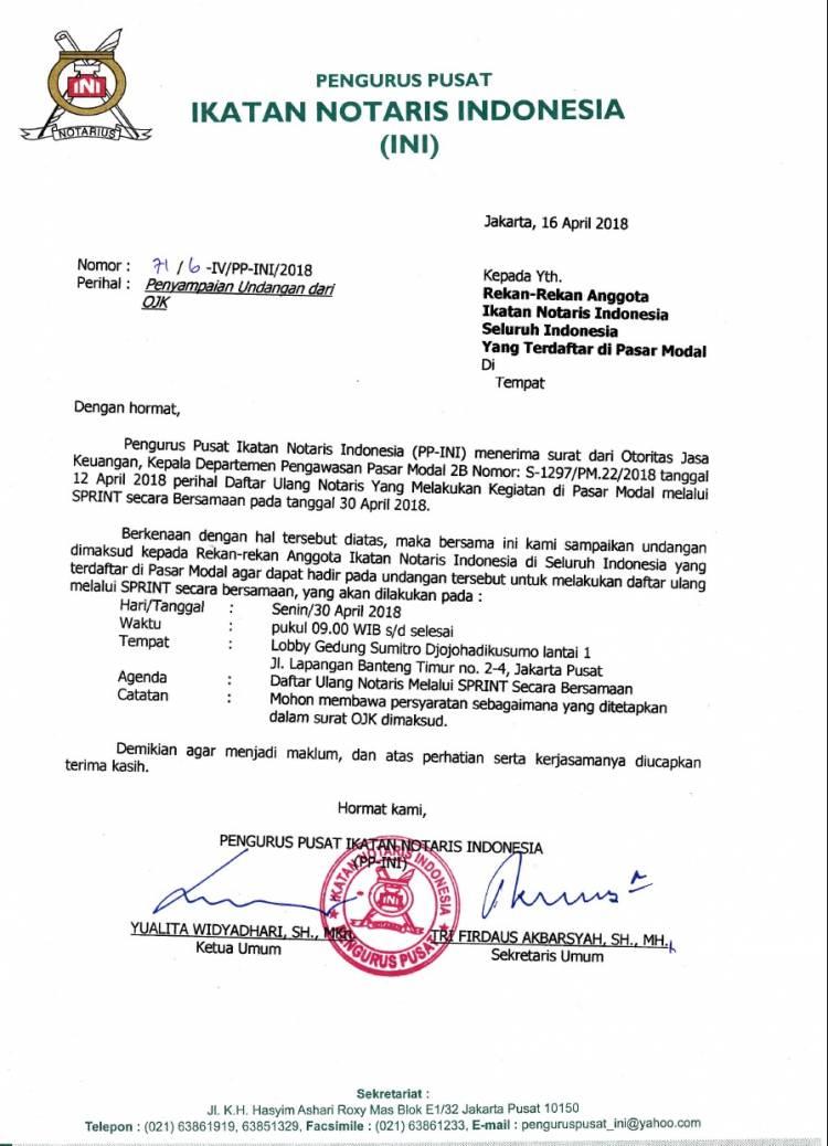 Surat PP INI kepada Notaris yang terdaftar di Pasar Modal